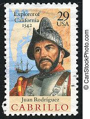Cabrillo - UNITED STATES - CIRCA 1992: stamp printed by ...