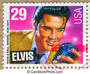 Elvis Presley - UNITED STATES - CIRCA 1992: stamp printed by...