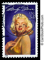 actress Marilyn Monroe - UNITED STATES - CIRCA 1995: A stamp...
