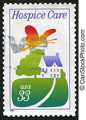 UNITED STATES - CIRCA 1999: stamp printed by United States of America, shows hospice in the fields, circa 1999