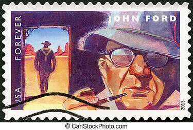 UNITED STATES - CIRCA 2012: A stamp printed in USA shows portrait of John Ford (1894-1973), scene from The Searchers, circa 2012