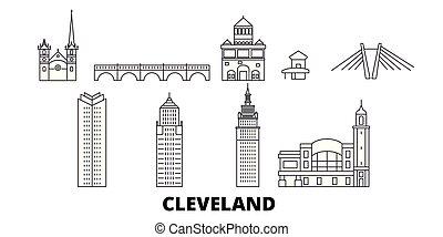 United States, Cleveland line travel skyline set. United States, Cleveland outline city vector illustration, symbol, travel sights, landmarks.