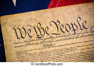 United States Constitution and vintage American flag