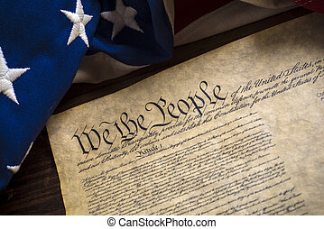 United States Constitution and vintage American flag - The...