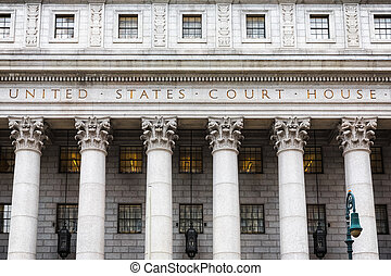 United States Court House. Courthouse facade with columns, ...