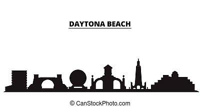 United States, Daytona Beach city skyline isolated vector illustration. United States, Daytona Beach travel black cityscape