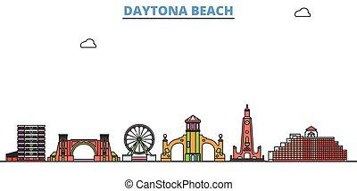 United States, Daytona Beach line cityscape, flat vector. Travel city landmark, oultine illustration, line world icons