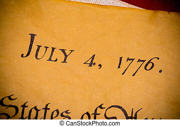 United States Declaration of Independence with vintage flag