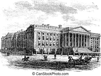 United States Department of the Treasury Building, in Washington, D.C., USA, vintage engraving
