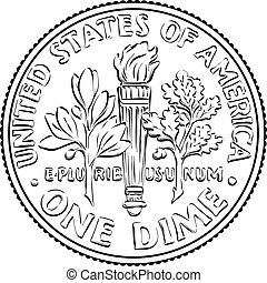 United States dime coin reverse - American money Roosevelt ...
