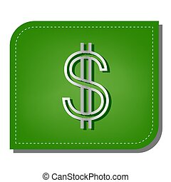 United states Dollar sign. Silver gradient line icon with dark green shadow at ecological patched green leaf. Illustration.
