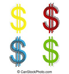 United states Dollar sign. Vector. Yellow, red, blue, green icon