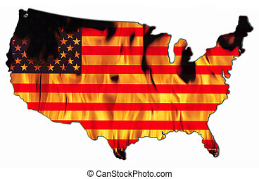 United States - The flag of the United States of America in...