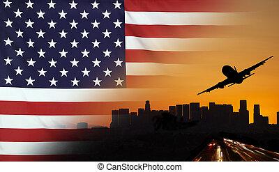united states, fabric, flag, rejse, og, transport, begreb
