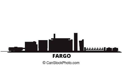 United States, Fargo city skyline isolated vector illustration. United States, Fargo travel black cityscape