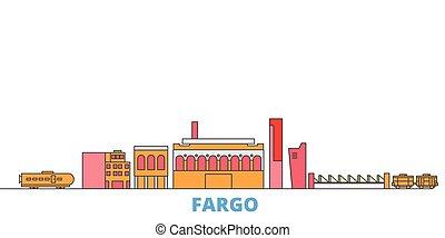 United States, Fargo line cityscape, flat vector. Travel city landmark, oultine illustration, line world icons