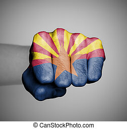 United states, fist with the flag of a state