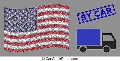 United States Flag Collage of Delivery Lorry and Textured By Car Stamp