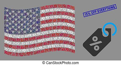 United States Flag Collage of Discount Tag and Grunge 15% Off Everything Stamp