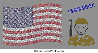 United States Flag Collage of Soldier and Textured Unlimited...