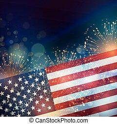 United States flag. Fireworks background for USA...