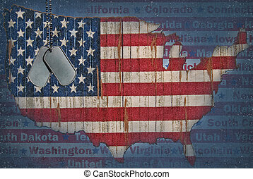 United States Flag - Military dog tags with United States...