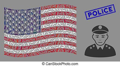 United States Flag Mosaic of Army General and Distress ...