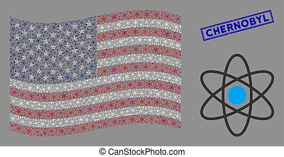 Atom items are grouped into USA flag collage with blue rectangle distressed stamp seal of Chernobyl phrase. Vector concept of USA waving official flag is designed of atom items.