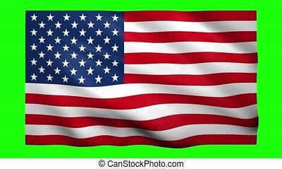 United States flag on green screen for chroma key