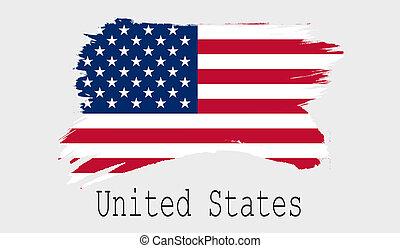 United States flag on white background