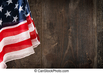 United States flag on wooden background