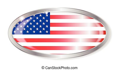 United States Flag Oval Button