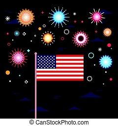 United States Flag Over Fireworks Background Independence Day Holiday 4 July Banner