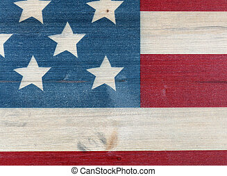 United States flag painted on vintage wooden background