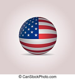 United States Flag sphere Button