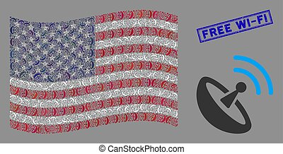 United States Flag Stylization of Space Antenna and Grunge Free Wi-Fi Stamp