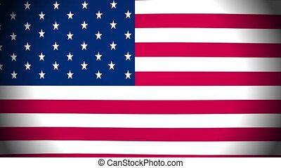 United states flag waving in the wind. Animation loop.