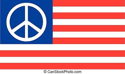 United States flag with peace sign