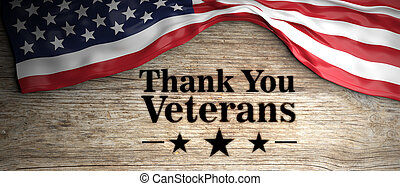 United States flag with thank you veterans message. Wooden...