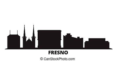 United States, Fresno city skyline isolated vector illustration. United States, Fresno travel black cityscape