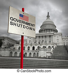 United States government shutdown and american federal shut down due to spending bill disagreement as a national finance symbol with 3D illustration elements.