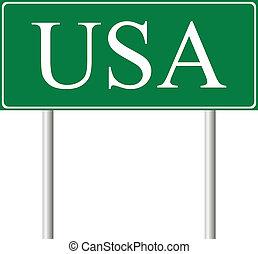 united states, grønne, vej underskriv