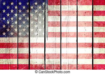 United States grunge wooden flag.