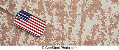 united states, hær, begreb, amerikaner flag, identifikation tag, på, digitale, camouflage, fabric., 3, illustration