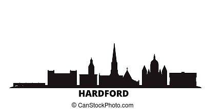 United States, Hartford city skyline isolated vector illustration. United States, Hartford travel black cityscape