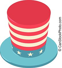 United states hat icon, isometric 3d style