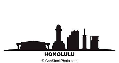 United States, Honolulu city skyline isolated vector illustration. United States, Honolulu travel black cityscape