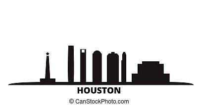 United States, Houston city skyline isolated vector illustration. United States, Houston travel black cityscape