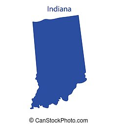 United States, Indiana. Dark blue silhouette of the state on...