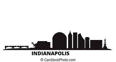United States, Indianapolis city skyline isolated vector illustration. United States, Indianapolis travel black cityscape